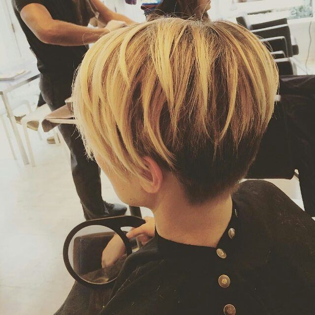 layered pixie cut - ombre pixie cut back view