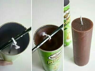 Making candles out of Pringles can