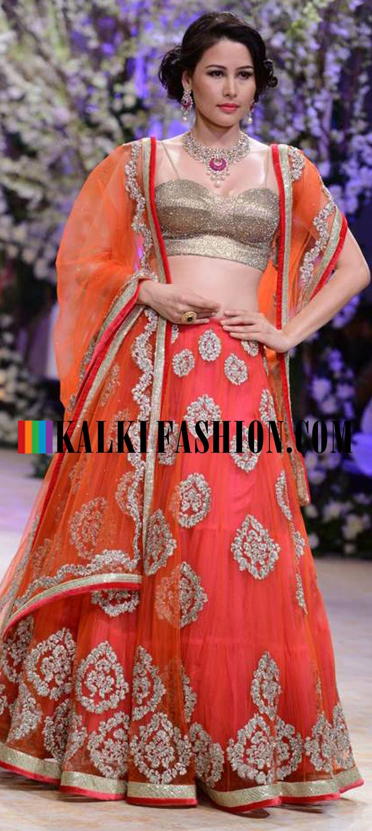 http://www.kalkifashion.com/designers/jyotsna-tiwari.html Urnashi Rautela and other models walk the ramp for Jyotsna Tiwari at Indian Bridal Week NOV 2013 at Mumbai 56