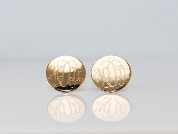1 2 Gold Round Post Earrings Monogrammed Initials Personalized Gift For Her Engraved Studs Bridesmaids Graduation Day Jewelry On Etsy