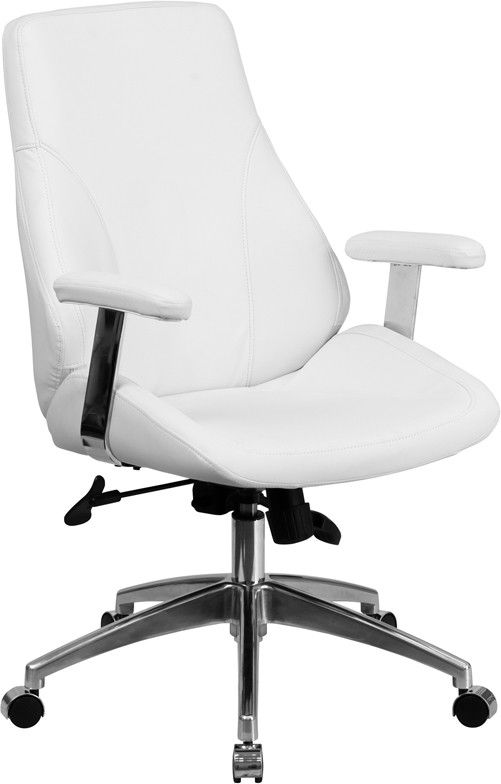 Mid Back White Leather Executive Swivel Office Chair