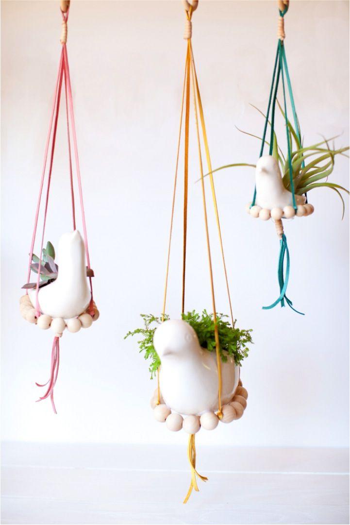 DIY nesting bird hanging planters