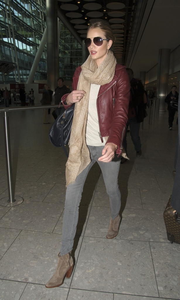 Rosie Huntington-Whiteley in oxblood leather jacket