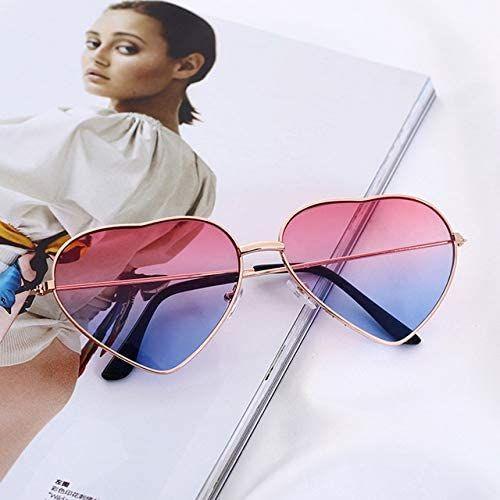 Vintage Retro Fashion Lolita Heart Shaped Aviator Yellow Frame Women Sunglasses