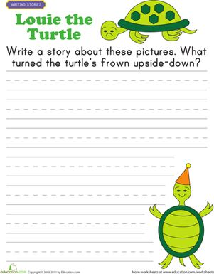 First Grade Handwriting Writing Stories Worksheets: Picture Prompt Worksheet