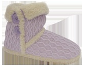 Knit bootie with plush collar and seams. Available in grey.