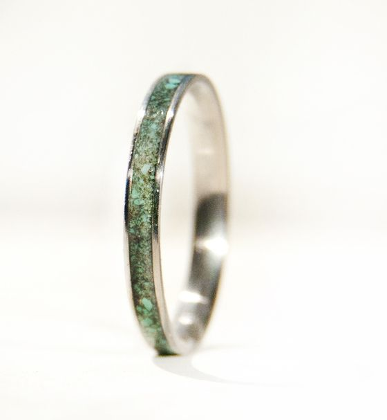 Staghead Designs -Turquoise Stacking Wedding Band