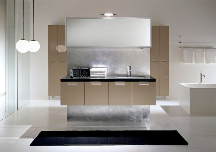 Интерьер и дизайн ванной комнаты в бежевом цвете
