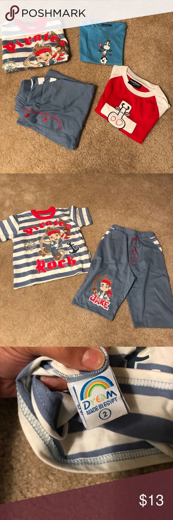 Kids pajamas Bundle of kids pajamas. Two cow t shirts brand is Kustam from Switzerland , blue shirt has faint discoloration on neckline as shown in photo. Then there is a pirates set of pajamas with matching pants. All are size 2 in youth Pajamas Pajama Sets
