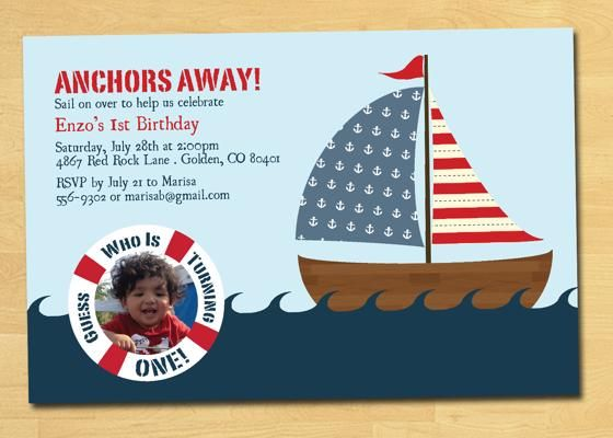 Nautical First Birthday Invitations