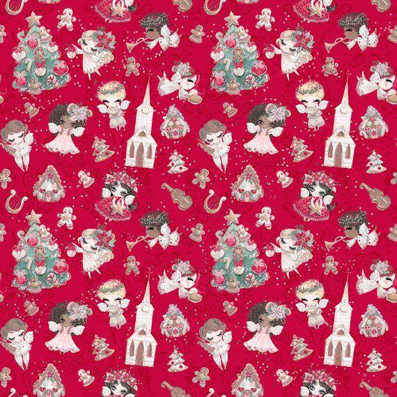 Christmas fabric, angel fabric, Christmas tree fabric, gingerbread