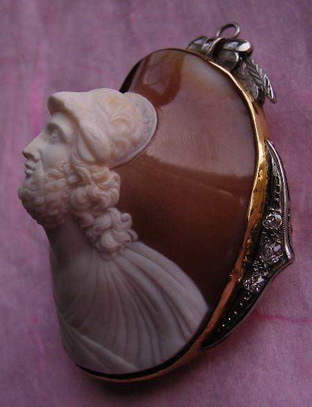 The Rarest Museum Quality Shell Cameo of Ajax Greek Troian War Hero ca. 1860
