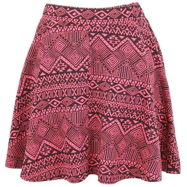 Print Aztec Skater Mini Skirt (25 PEN) ❤ liked on Polyvore featuring skirts, mini skirts, faldas, aztec print mini skirts, red skater skirt, patterned mini skirt, red skirt and red short skirt