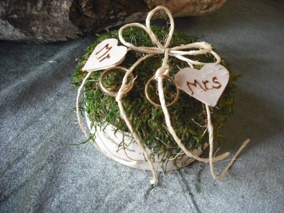 Birch bark and moss ring bearer pillow with by NHWoodscreations, $22.50