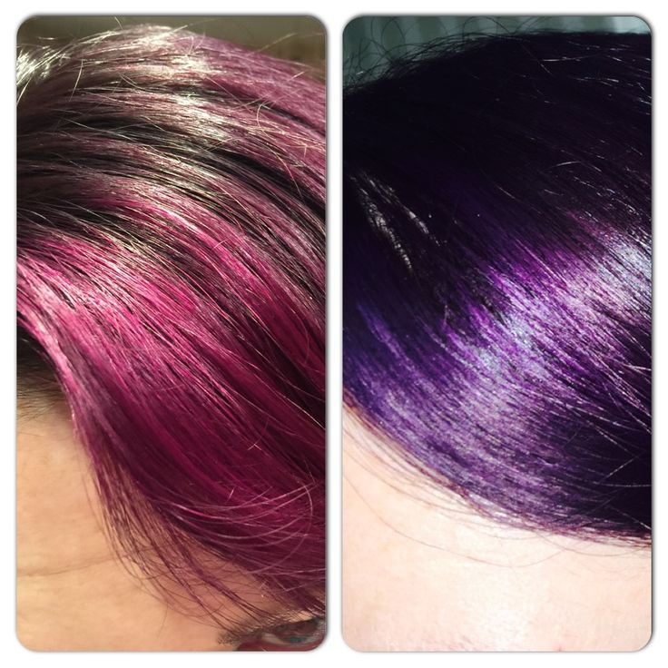 Same color, same day, different lighting - pimpin purple by special effects ~ Day 1 Some tips for this awesome purple hair:  I love my purple hair, but be prepared this color is dark it looks almost black inside and it will stain everything for a few weeks, your hands (do don't touch your hair), your pillow case (buy black or keep you hair wrapped up at night), your neck will be purple every day for about 2 weeks (use alcohol and a cotton ball to wipe it off).  And of course it fade…