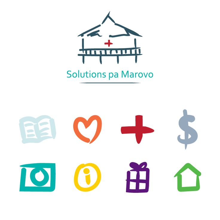 Custom designed icons for the Solutions pa Marovo website. These were used in the navigation bar and corresponding section headers and are characteristic of the organisation's painted line-work branding style