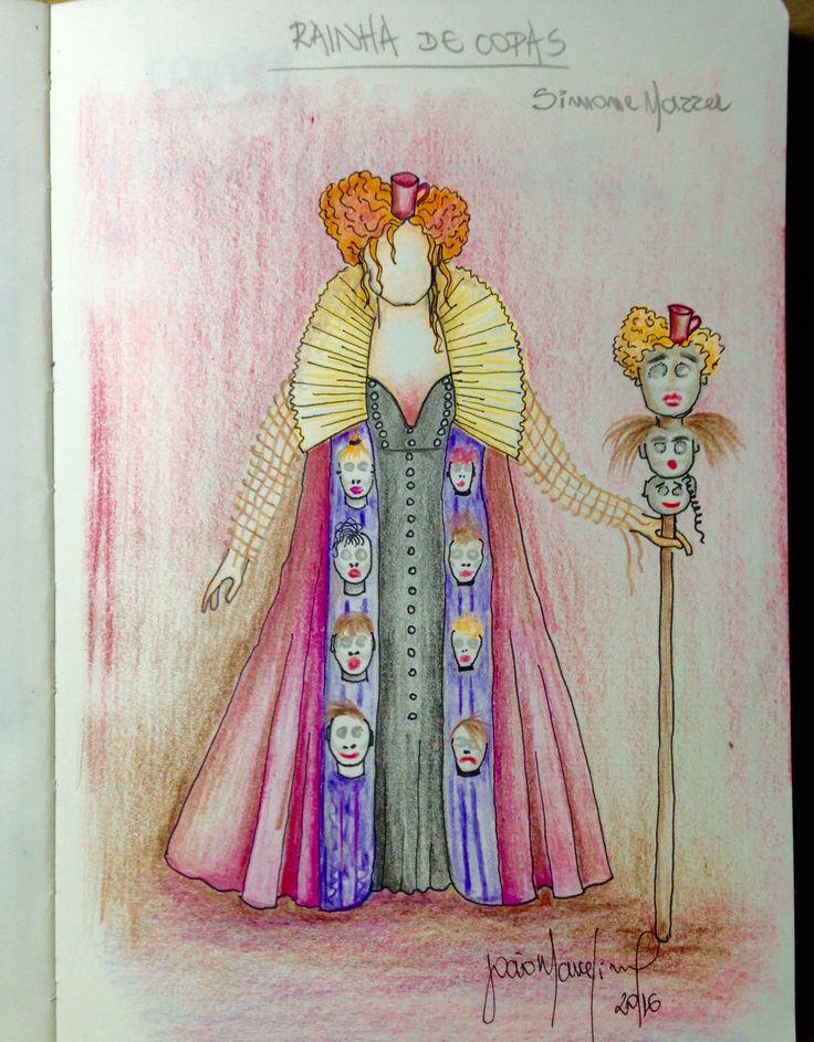 Cróqui sketch do figurino do Rainha de Copas  da peça Alice Através do Espelho, da Armazém Cia de Teatro.  Direção de Paulo de Moraes. Da obra de Lewis Carrol.