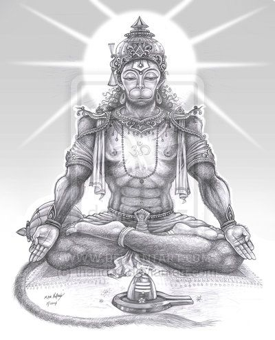 meditating Hanuman by thandav