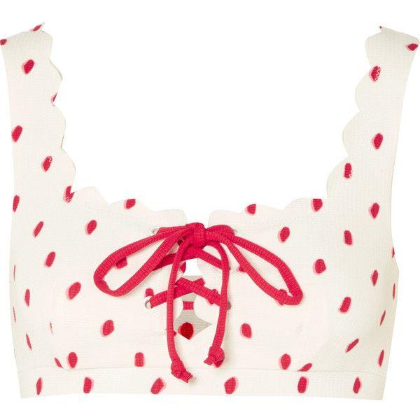 Marysia Palm Springs scalloped printed bikini top ($190) ❤ liked on Polyvore featuring swimwear, bikinis, bikini tops, white, tankini tops, white swim top, scalloped swimwear, seamless bikini and white tankini top