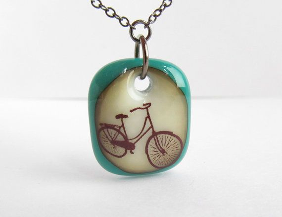 Retro Bike Necklace Bicycle Pendant Handmade Glass #bicycle #necklace #etsy $25