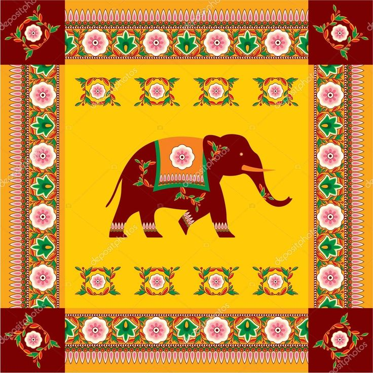 Elefante indio (hindú) de vector con patrón tradicional frontera ...