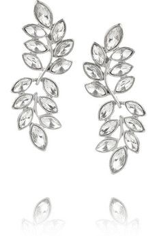 Kenneth Jay Lane Rhodium-plated crystal earrings   THE OUTNET
