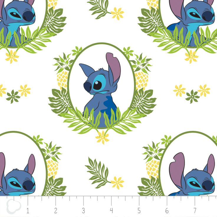 Lilo and Stitch Fabric / Tropical Frame in White / Lilo & Stitch Disney Fabric for Camelot 85240102 #2 / By The Yard and Fat Quarters by SewWhatQuiltShop on Etsy