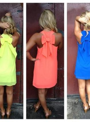 Neon Sleeveless Dress with Bow