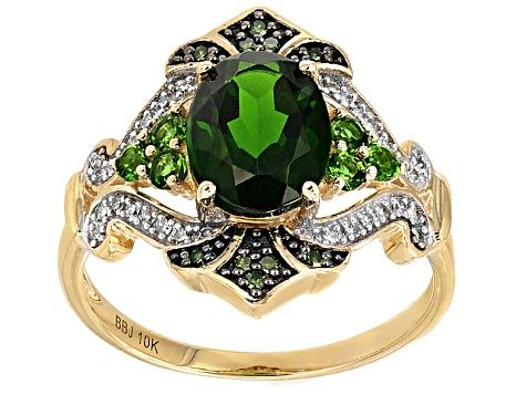 Green Chrome Diopside 10k Yellow Gold Ring 1 94ctw Cbe003r Yellow Gold Rings Diopside Jewelry