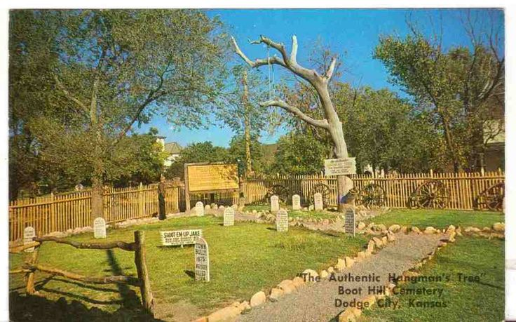 Undated Unused Postcard Boot Hill Cemetery Hangmans Tree Dodge City Kansas KS
