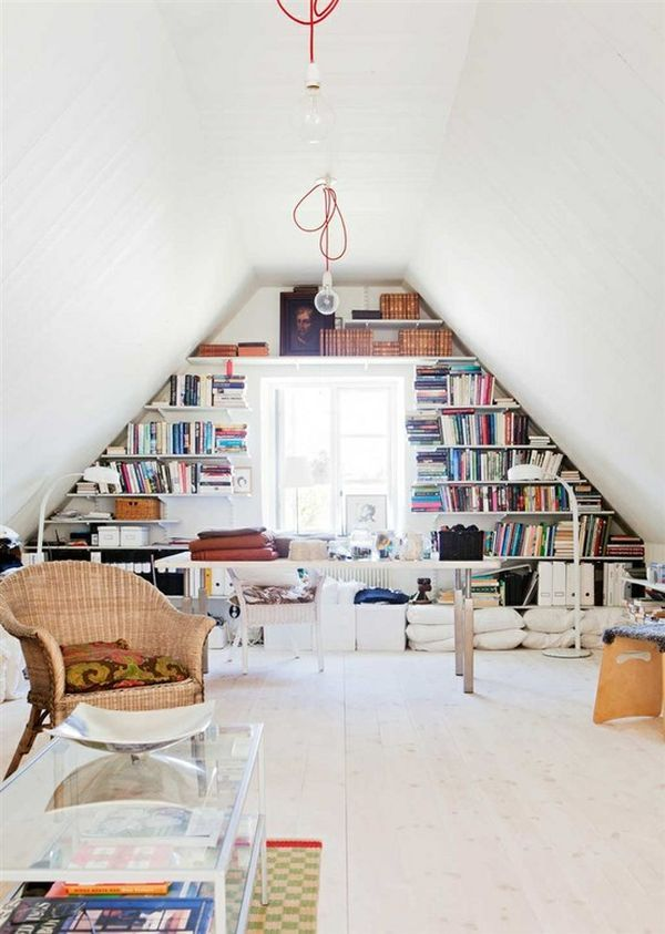 attic office | Simple attic home office with a wall bookcase around the window: