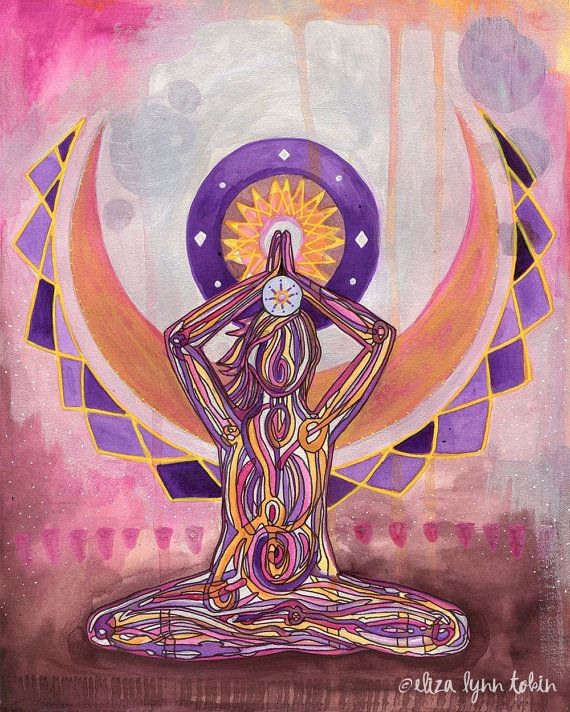 From the base of your spine to the top of your head, rise up to meet the infinite.    Yoga Art Crown Chakra Print by Eliza Lynn Tobin