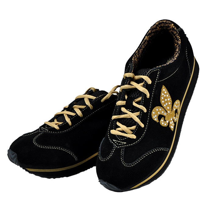 Fleur De Lis Black And Gold Tennis Shoes