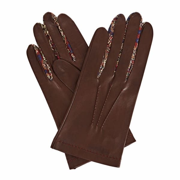 GIZELLE RENEE PhiloMENa Dark Brown Leather Gloves With BM Liberty Tana Lawn . #gizellerenee #all