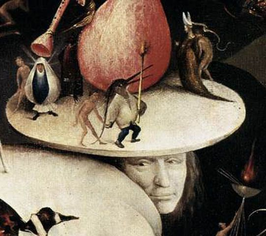 "Hidden face believed to be a self-portrait of Hieronymus Bosch in ""The Garden of Earthly Delights"" (Museo del Prado, Madrid)"