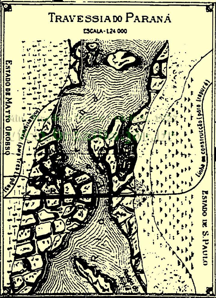 Detalhe dos trilhos da travessia do rio Paraná no mapa geral dos trilhos da Estrada de Ferro Noroeste do Brasil em 1927