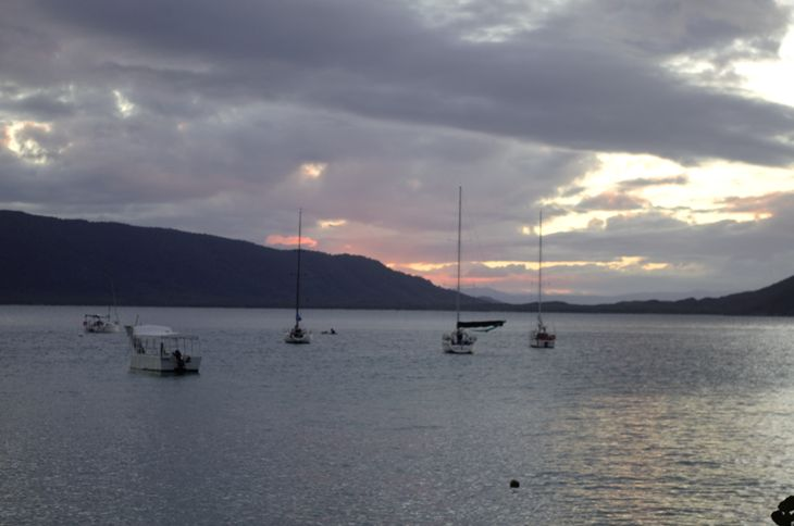 The view from Foxy's Bar on the island, looking out at the bay at sunset