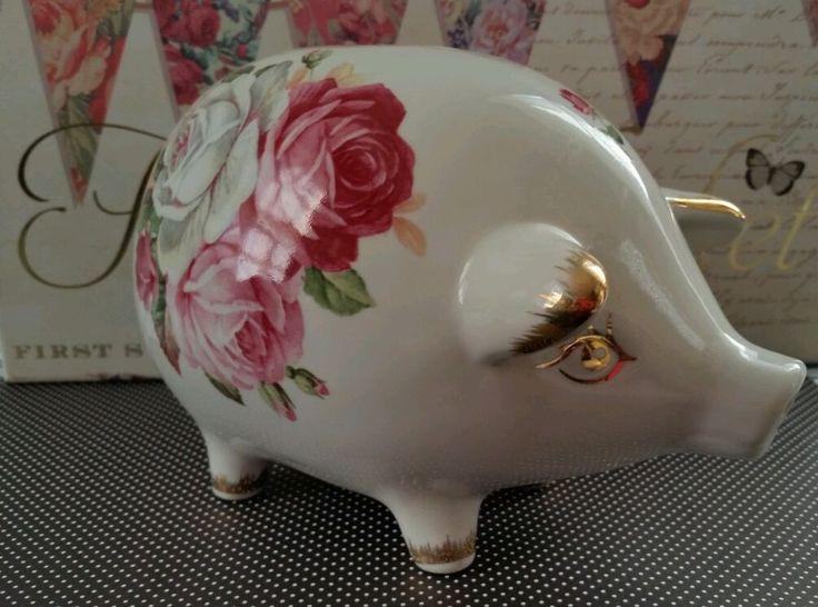 Vintage Porcelain China Piggy Bank Roses With Gold Trim