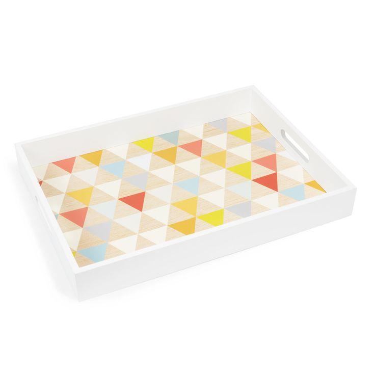Plateau motif triangles en bois multicolore 30 x 40 cm | Maisons du Monde