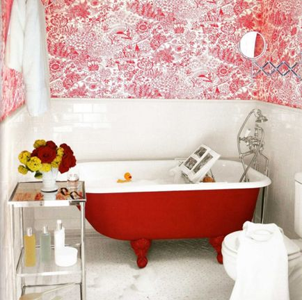 red painted clawfoot tub