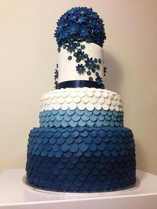 Blue Ombré Fish Scale Wedding Cake with Blue Floral Accents. Via Inweddingdress.com #weddingcake