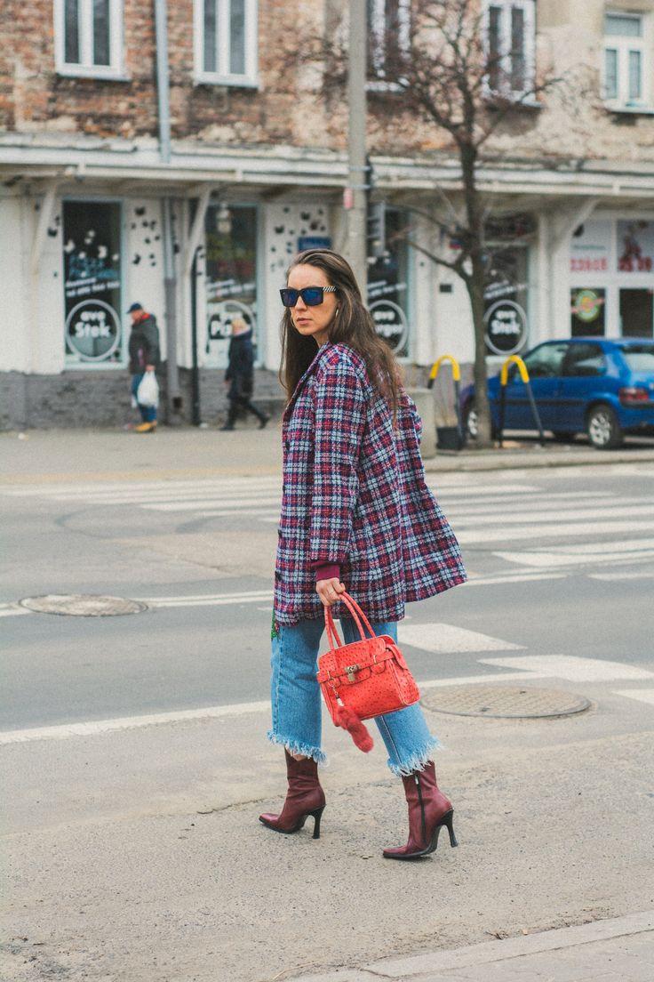 vintage check coat street style deesem.pl