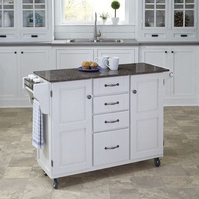 Cute August Grove Adelle Kitchen Cart with Quartz Top Base Finish White