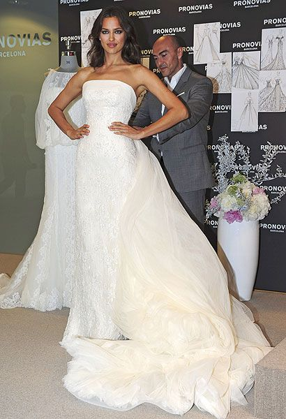 Irina Shayk and Manuel Mota, the Creative Director of Pronovias, reveal some of the 2012 bridal collection