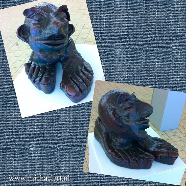 Head on feet (acc. to Jeroen Bosch) Clay sculpture www.michaelart.nl