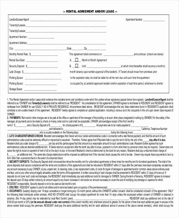 One Page Lease Agreement Awesome 20 Rental Agreement form
