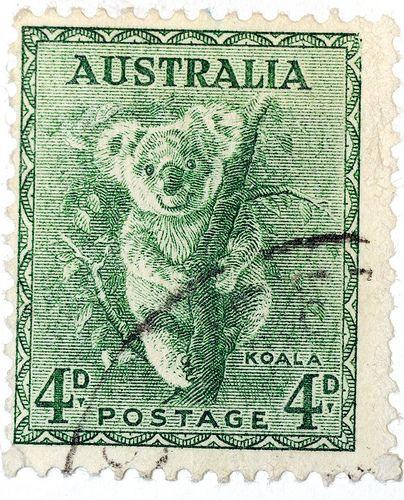 Australian Stamps, coala and eucaly
