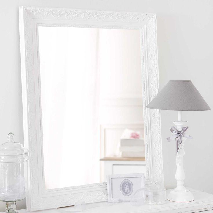 VALENTINE paulownia wood mirror in white H 90cm Specchi