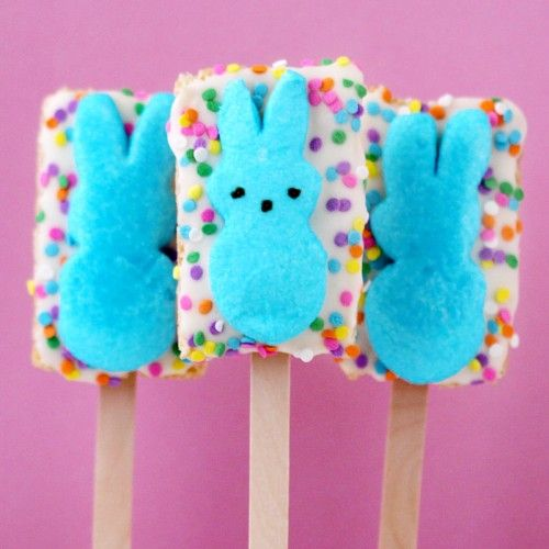 rice crispy treats, covered with white chocolate ... add a peep and you've got a major Easter sugar rush - lol - but soooo cute!