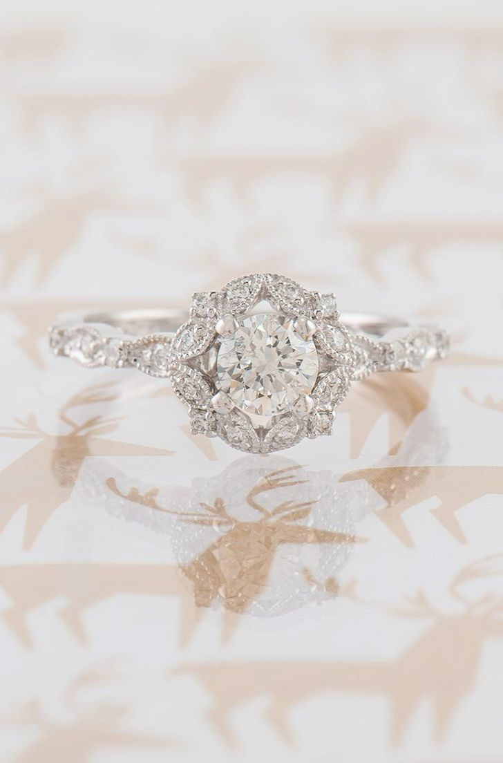 Round Flower Halo Engagement Rings Except Sky Jewellery Near Me